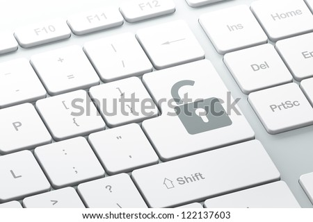 Enter button with opened padlock on computer keyboard, 3d render - stock photo