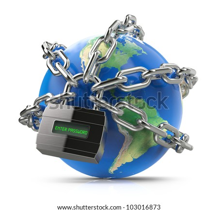 Enter password, earth globe with chain and lock - stock photo