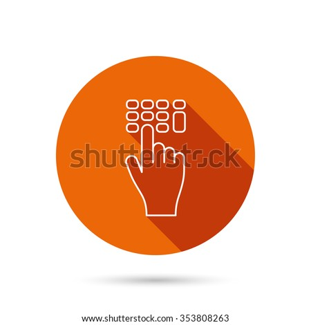Enter pin code icon. Click hand pointer sign. Round orange web button with shadow. - stock photo