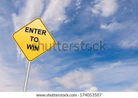 Enter To Win achievement and contest concept road sign - stock photo