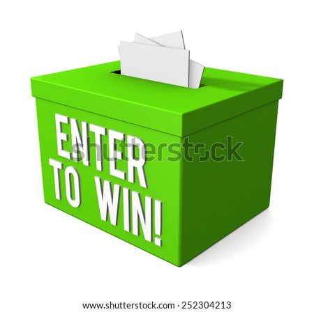 Enter To Win words on a box isolated on white background - stock photo