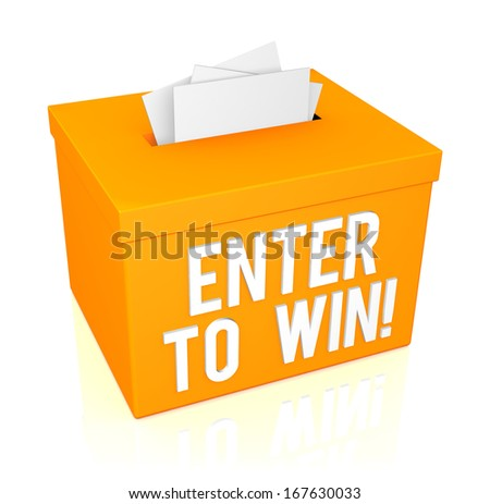 Enter To Win words on a orange box isolated on white background - stock photo