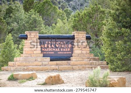 Entering Mesa Verde National Park, Colorado, USA - stock photo