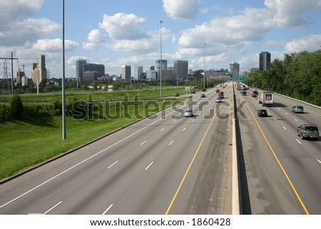Entering Richmond Virginia from Interstate 95 - stock photo
