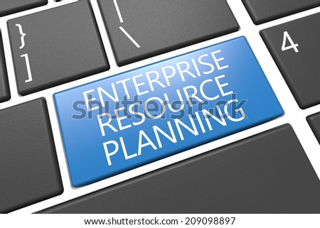 Enterprise Resource Planing - keyboard 3d render illustration with word on blue key - stock photo