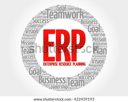Enterprise Resource Planning circle word cloud, business concept - stock photo