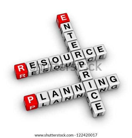 Enterprise Resource Planning (ERP) crossword puzzle - stock photo