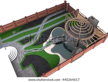 Entertaining backyard arrangement, 3d render - stock photo