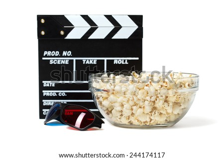 Entertainment and cinema concept. Popcorn in glass bowl with clapboard and 3D glasses. Isolated on white background. - stock photo