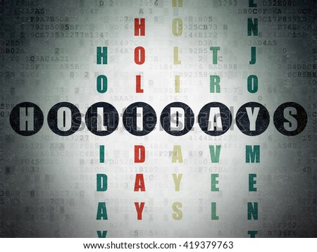 Entertainment, concept: Painted black word Holidays in solving Crossword Puzzle on Digital Data Paper background - stock photo