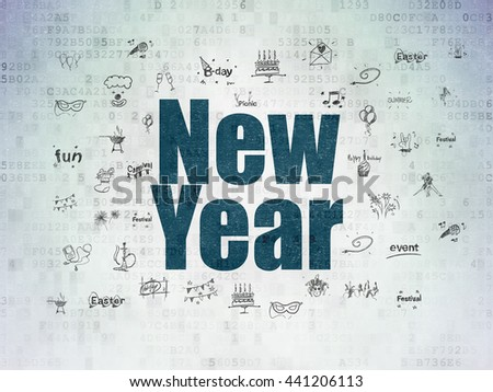 Entertainment, concept: Painted blue text New Year on Digital Data Paper background with  Hand Drawn Holiday Icons - stock photo