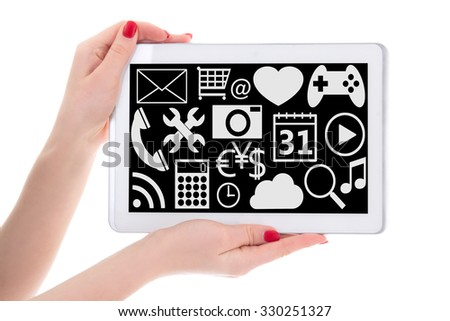 entertainment concept - tablet pc with multimedia applications in female hands isolated on white background - stock photo