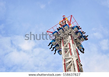 Entertainment park, amusement, sky thrill - stock photo