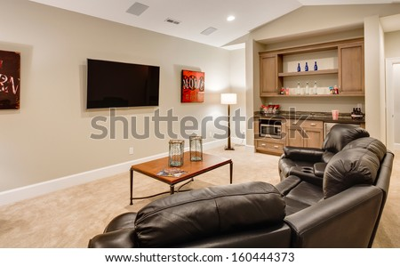 Entertainment Room in Luxury Home - stock photo