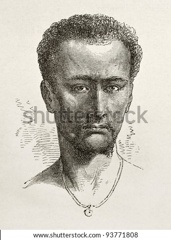 Enticho peasant old engraved portrait (Abyssinia). Created by Bayard after Lejean, published on Le Tour du Monde, Paris, 1867 - stock photo