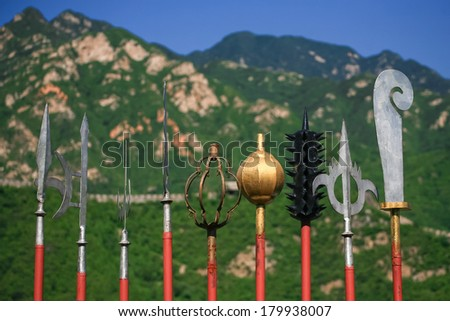Entomb warrior weapon at Great Wall, Beijing, China - stock photo