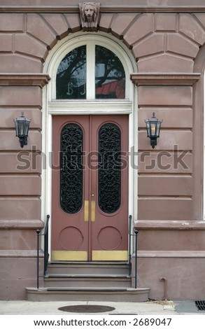 Entraceway to home in charleston historic district - stock photo