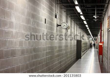 Entrance and corridor in a modern building interior - stock photo
