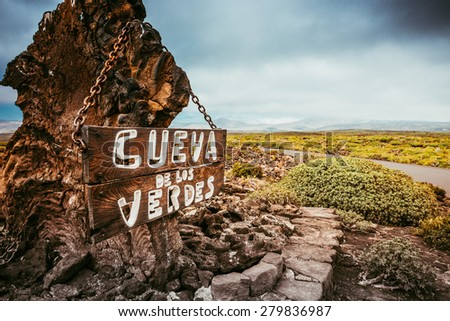 entrance and signboard to Cueva de los Verdes Cave, Lanzarote, Canary Islands, Spain - stock photo