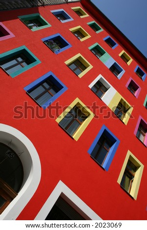 entrance and windows on building - stock photo