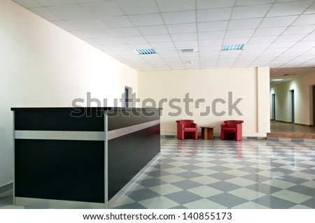 Entrance area of an office - reception interior - stock photo