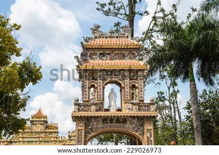 Entrance at the Vinh Tranh Pagoda in My Tho, the Mekong Delta, - stock photo