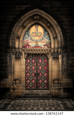 Entrance door of St. Peter and Paul church in Prague - stock photo
