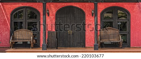 Entrance Doorway And Windows At Mexican Restaurant In The Dominican Republic - stock photo