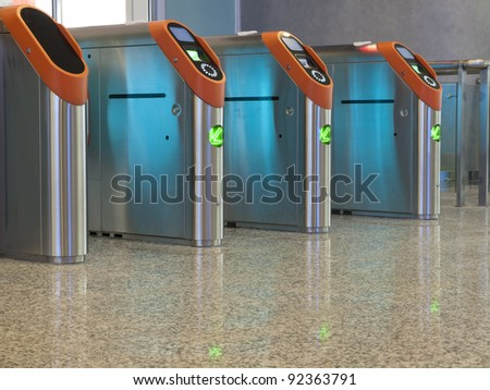Entrance Gate at railway station - stock photo