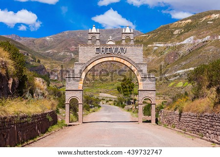 Entrance gate of Chivay city, southern Peru - stock photo
