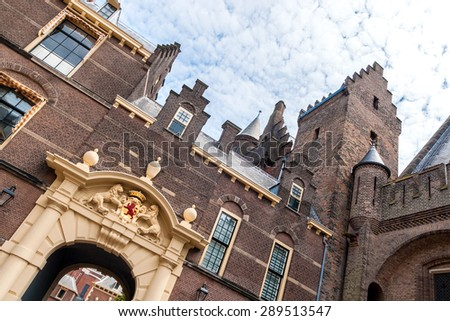 Entrance gate of the Binnenhof in The Hague, the seat of the Dutch parliament, tilted - stock photo