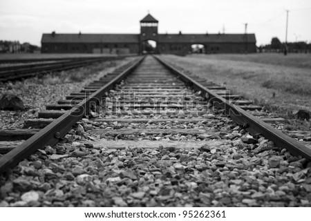 Entrance gate to Auschwitz Birkenau - stock photo
