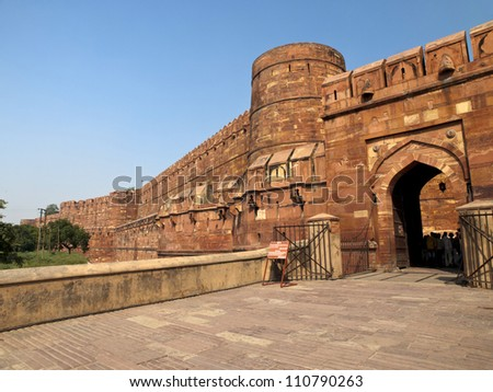 Entrance gate to the famous Agra Fort in Uttar Pradesh, India. - stock photo