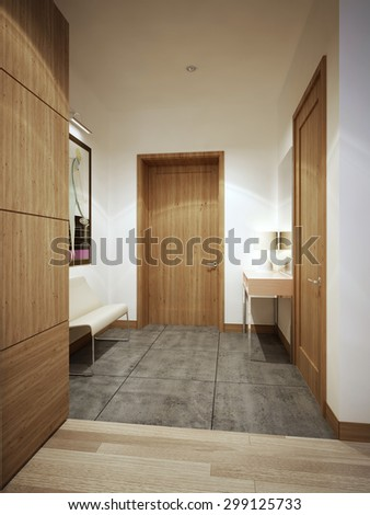 Entrance hall loft trend. White walls and brown doors and furniture. 3D render - stock photo