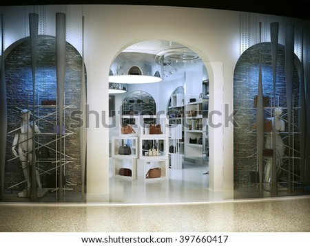 Entrance into a modern store selling handbags. Shop for art deco style with a touch of antiquity. Shop white with lots of bags on the shelves. 3D render. - stock photo