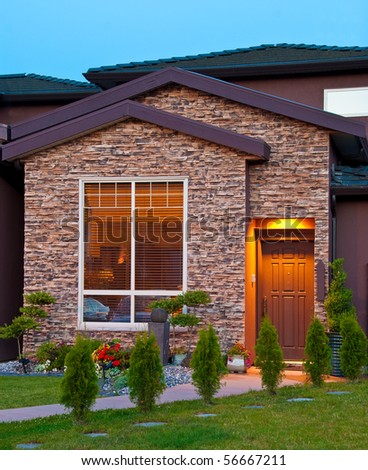 Entrance of a house at dusk in Vancouver, Canada. - stock photo