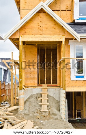Entrance of a house under construction in Vancouver, Canada. - stock photo
