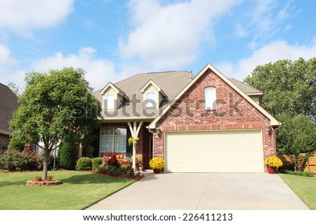 Entrance of a nice single family house - stock photo