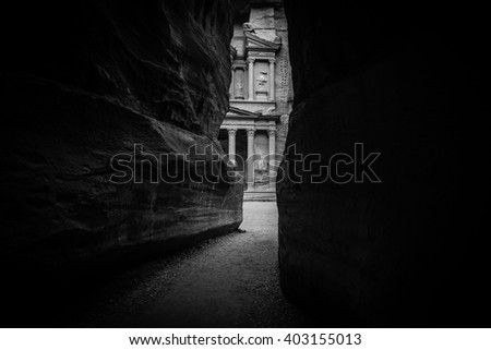 Entrance of City of Petra, Jordan - stock photo