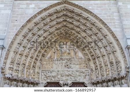 Entrance of Notre Dame de Paris - Portal of the Last Judgment  - stock photo