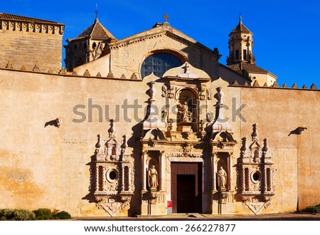 Entrance of Poblet Monastery. Catalonia, Spain - stock photo