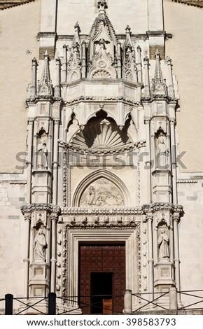 Entrance of Saint Francis church in Ancona, Italy - stock photo