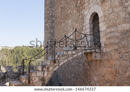 entrance of the main tower in a castle - stock photo