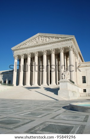 Entrance of the United States Supreme Court, Washington DC, USA/United States Supreme Court - stock photo
