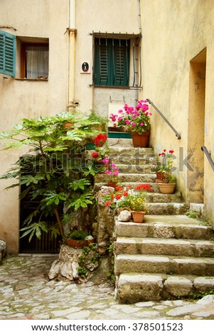 entrance to an old house, La turbie , France - stock photo