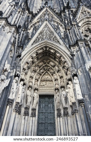 Entrance to Cologne Cathedral Dom. Cologne, North Rhine-Westphalia, Germany - stock photo