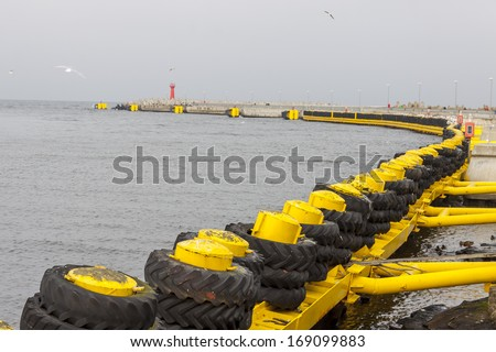 Entrance to dock in Kolobrzeg, Poland - stock photo