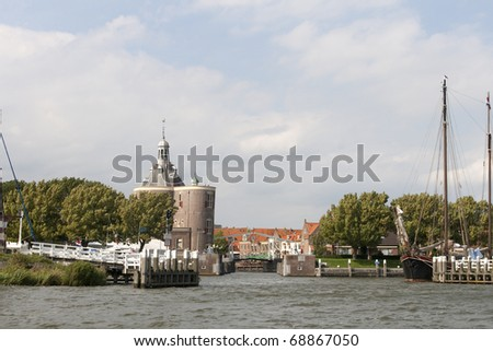 Entrance to Enkhuizen from the Ijsselmeer - stock photo