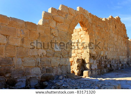 Entrance to Euthymius monastery in Judean desert, Mishor Adummim, Israel - stock photo