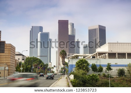 Entrance to Financial District in Los Angeles, California - stock photo